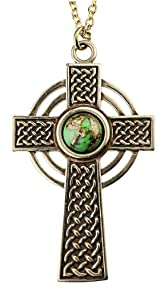 Small Celtic Cross with 8mm Persian Green Copper Turquoise Gemstone on 18