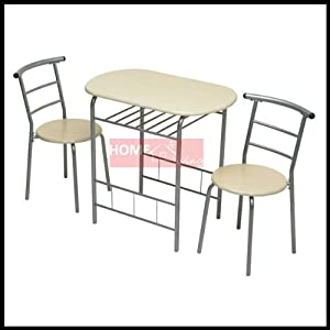 New 3pc Dining Set 2 Chairs and Table Metal Frame Wooden