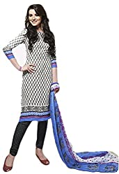 Sree Impex Women Leone Printed Crepe Salwar Suit Dress Material (SI-SK-33_Blue_Free Size)