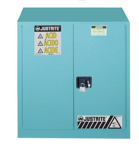 Justrite 893302 Sure-Grip EX Steel 2 Door Manual Corrosives Safety Cabinet, 30 Gallon Capacity, 36