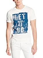 7 For All Mankind Camiseta Manga Corta Graphic (Blanco / Azul)
