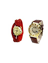 COSMIC COUPLE WATCH- RED ANALOG DESIGNER WATCH FOR WOMEN AND BROWN SKELETON WATCH FOR MEN