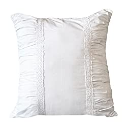 Pleating With Lace Euro Sham | Fits 26 Inch x 26 Inch Euro Pillow |Adds Simple Sophistication To Your Bedding Or Sofa | 1 Sham |