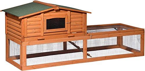 dobar-23176-Groer-Kaninchenstall-Blockhaus-mit-riesigem-Freigehege-Hasenstall-XXL-aus-Holz-winterfest-217-x-79-x-985-cm-braun