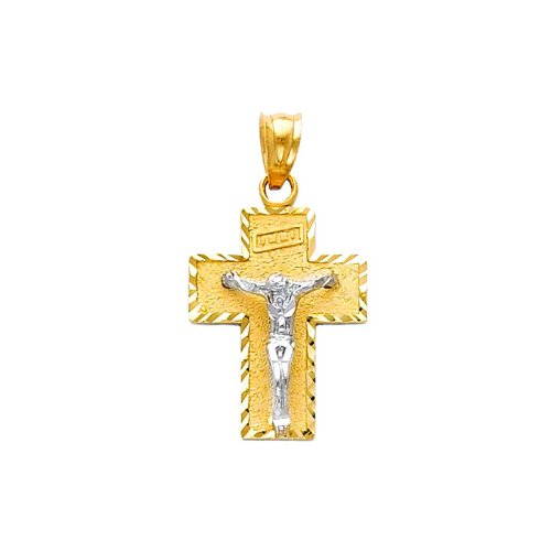 14K Yellow and White 2 Two Tone Gold Religious Jesus Cross Charm Pendant