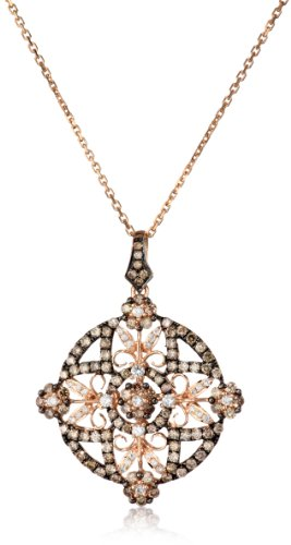 "Kc Designs ""Tres Chic"" 14K Rose Gold, White And Champagne Diamond Medallion On 18"" Chain"