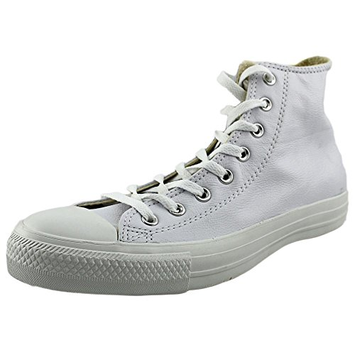 Converse Mens Unisex Chuck Taylor All Star Leather Hi Fashion Sneaker Shoe, White Monochrome, 11.5