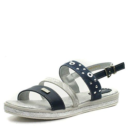 MS955 Miss Sixty Girls Flat Sling Back Sandal in Navy Blue Silver Trim Taglia 37