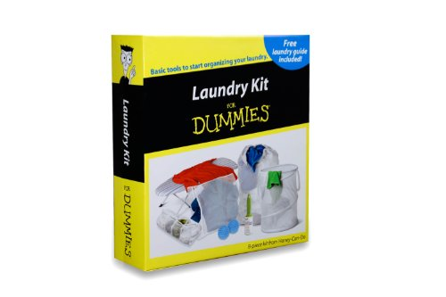 Honey-Can-Do LDY-01427 Laundry for Dummies Kit, Laundry Guide, Hamper, Bag, Ironing