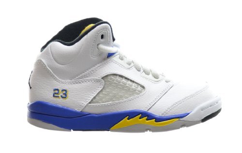 Jordan 5 Retro (PS) Little Kids Basketball Shoes White/Varsity Royal-Black 440889-189 (13 M US) (Grape Retro 13 Jordan Shoes compare prices)