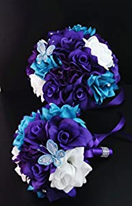 13pc Wedding Bridal Party Bouquets Boutonniere-turquoise,purple,silver Silk Roses Flowers