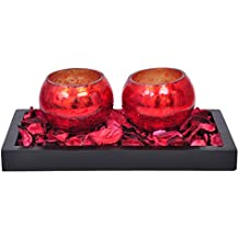 TiedRibbons® T-light Holder Holder Pack Of 2(2.6 Inch X 3.4 Inch,Red,Glass)with Wooden Tray And T-light Candle