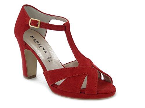 Charleston Martina in camoscio rosso, Sandalo con tacco 9cm. e palteau 1cm., SUOLA IN gomma ANTISCIVOLO, Estivo-16541