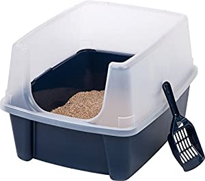 Open-top Large Pet Cat Kitty Litter Box Pan with Shield Enclosure and Scoop