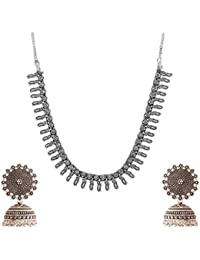 Ganapathy Gems Silver Metal Strand Necklace Set For Women (GPJC46)