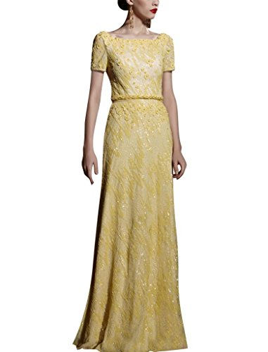 Kingmalls Womens Yellow Appliques Tie Back Short Sleeves Prom Dress