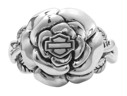 Harley-Davidson Womens .925 Silver Rose Ring (7)