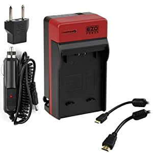 EZOPower NP-FH50 Battery Charger with EU/Car Adapter + 3FT Mini HDMI Cable for Sony HX200V, HX100V, DSLR-A390 A380 A330 A230; HDR-CX190 CX200 CX210 CX260V XR260V CX580V CX760V
