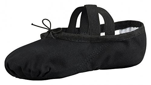 tanzmuster Ballettschuhe / Ballettschläppchen aus Leinen, geteilte Sohle, für Kinder und Erwachsene in schwarz in den Größen 22-45.