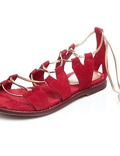 LFNLYX Scarpe Donna-Sandali-Tempo libero / Formale / Casual-Con cinghia / Decolleté con cinturino / Aperta / Cinturino alla caviglia-Piatto-Di , red , us8 / eu39 / uk6 / cn39