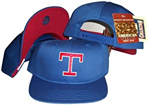 Texas Rangers Blue Snapback Adjustable Plastic Snap Back Hat Cap by