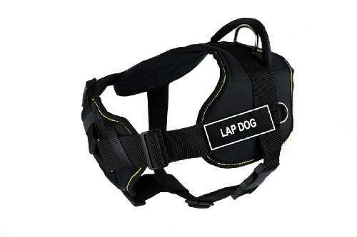 dean-tyler-32-to-107cm-lap-dog-fun-harness-with-padded-chest-piece-large-black-with-yellow-trim