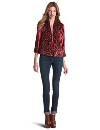 Lucky Brand Women's Emma Beaded Jacket, Red Multi, X-Small/Small