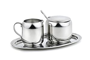 StainlessLUX 77305 4-Piece Small Stainless Steel Creamer & Sugar Dispenser, Spoon & Tray Set - Fine StainlessLUX Tableware for Your Home