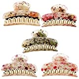 Alcoa Prime 5Pcs Fashion Girl Women Flower Hair Claw Hair Clip Clamp Hairpin Jaw Clip