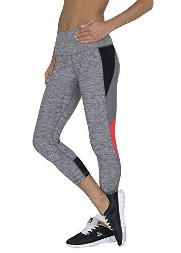 RBX Active womens Striated Color Block Printed Capri Leggings,Grey / Black Pink Combo,Small