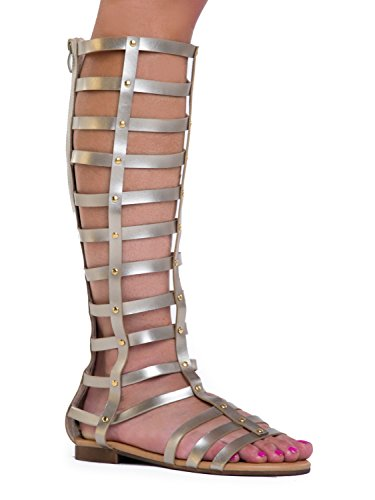 Strappy Cage Studded Flat Knee High Gladiator Sandal