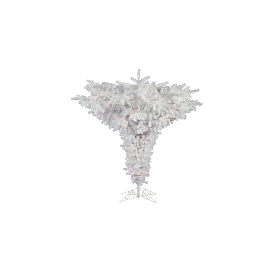 7.5 ft. Artificial Christmas Tree   Classic PVC Needles   Crystal White   Upside Down   Unlit   Vickerman A805675