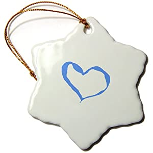 orn_25779_1 Patricia Sanders Creations - Blue Heart - Ornaments - 3 inch Snowflake Porcelain Ornament