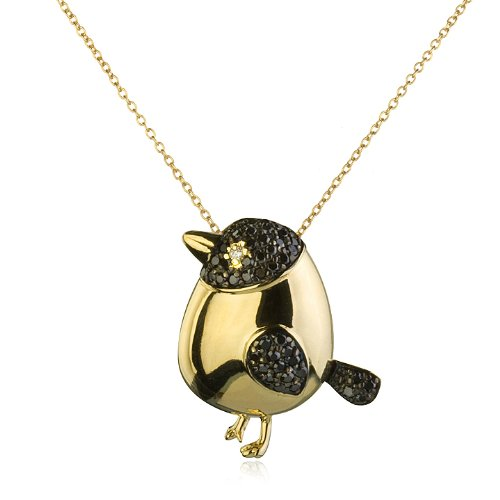 Fat Bird In Black CZ and Gold Plated