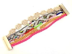 BR.818 - Bracelet Femme - Manchette Brésilien Rose Fluo Taupe Coquillage - Fermoir Aimanté Magnétique