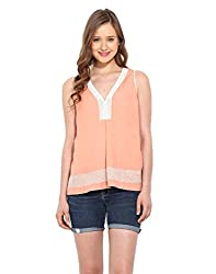 Saiesta Women's Blush Pink Embroidered Lacey Top