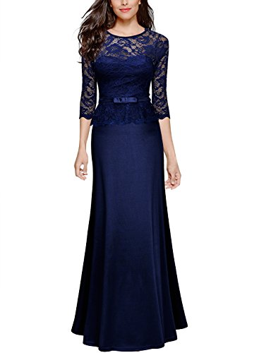Miusol-Womens-Retro-Floral-Lace-23-Sleeve-Slim-Peplum-Bridesmaid-Long-Dress