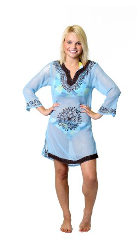 Copacabana Long Sleeve Embroidered Beach Tunic/Cover Up, Xl, Turquoise front-795435
