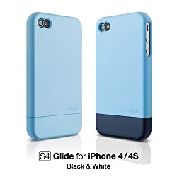 elago S4 Glide Case for AT&T and Verizon iPhone 4 - Soft Feeling Pastel Blue + Extra Bottom Clip + Front Protection Film + Back Protection Film included