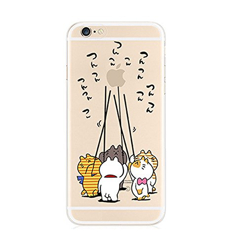 TaoTech iPhone7 TPU ソフト 保護キャップ ストラップ ホール 付き 可愛い キャラクター クリア ケース (iPhone7, 猫組)