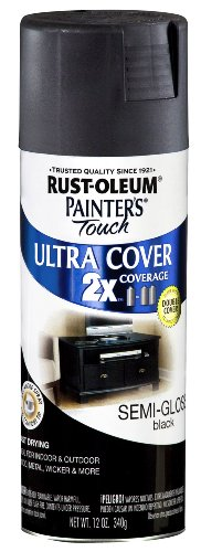 Rust-Oleum 249061 Painter's Touch Multi-Purpose Spray Paint, Semi-Gloss Black, 12-Ounce