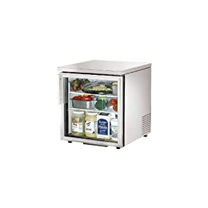 """True TUC-27G-LP Low Profile Under Counter Refrigerator 28"""" 1 Section 1 Glass Doo"""