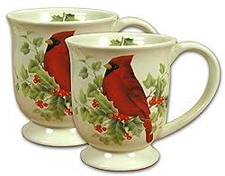 Cardinal Coffee Mugs - Set of 2 Red Cardinal Cups - Winter Cardinal with Greenery and Berries - Cardinal Dinnerware - Christmas Cups