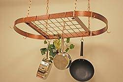Oval Grid Pot Rack in Hammered Copper - Medium