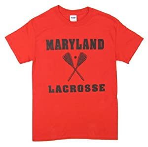 Buy Maryland Terrapins Lacrosse Mens Red T-Shirt by Maryland Terrapins