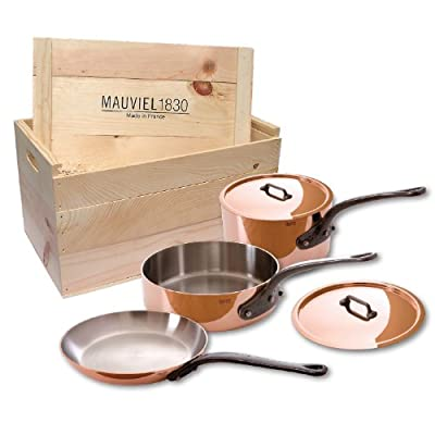 Mauviel M'heritage 6501.00wc 250c Crated 5-Piece Set with Cast Iron Handles