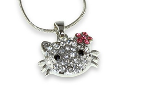 Shimmering-Hello-Kitty-Pendant-Silver-Necklace-Perfect-Girl-Children-Awesome-Shiny-Serpentine-Chain