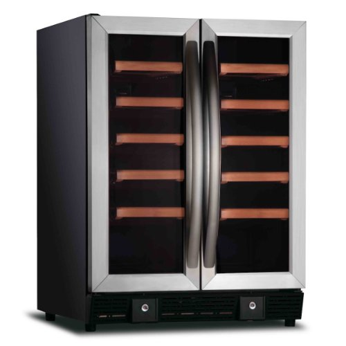 Kingsbottle 36 Bottle Two-Temp Wine Cellar-Glass Door With Stainless Steel Door Trim And Handle