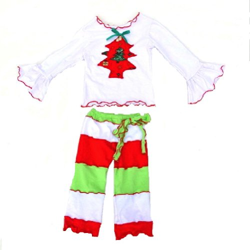 Absolute Costume and Novelties Girls Christmas Tree Matching Pant & Shirt Set