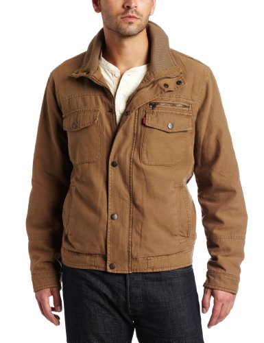 Levi's Men's Washed Cotton Trucker, Khaki, Small